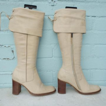 River Island Leather Boots Sz Uk 5 Eur 38 Womens Cream Pull on Pirate Boots